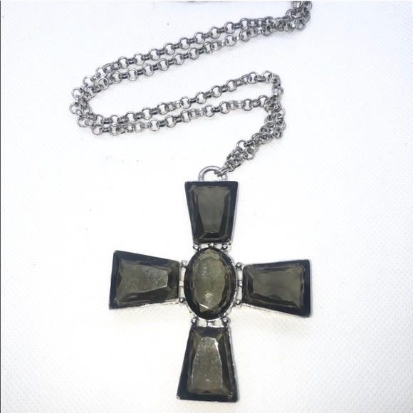 Gray Large Lucite Cross Statement Necklace